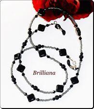 BRILLIANA Brillenbänder Kette EDEL schwarz quadratische Perlen & Kristall 71 cm