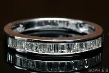 Baguette Natural Diamond Channel Set In Solid 14K White Gold Band Ring All Sizes