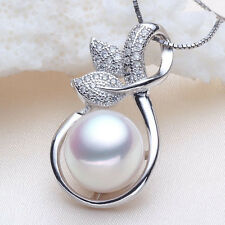 11mm Button White Freshwater Pearl Pendant in Solid Silver +Free Silver Necklace