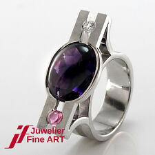Designer Ring - Amethyst, Turmalin, Brillant ca. 0,20 ct TW/vvs - Palladium/Gold