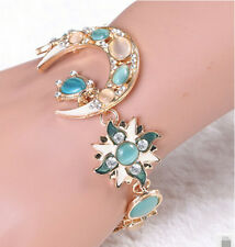Personality Retro Sun and Moon God Stars Crystal Rhinestone Resin Chain Bracelet