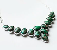 925 Sterling Silver and Green Turquoise Natural Stone Statement Necklace