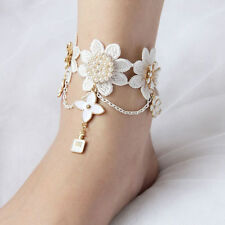 Wedding Party Bridal Lace Flower Beads Chain Anklet Beach Sandals Foot Bracelets