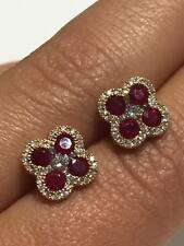 18ct rose gold 0.38CT HSI diamonds and 0.92ct ruby stud earrings GOY75