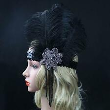 1920s Great Gatsby Ladies Headbands Vintage Flapper Feather Headpiece Hair Band