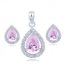18K WHITE GOLD GP& GENUINE SWAROVSKI CRYSTAL PINK  NECKLACE & EARRING SET