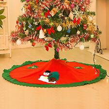90cm Snowman Christmas Tree Skirt Red Merry Deluxe Felt Tree Skirt Decoration