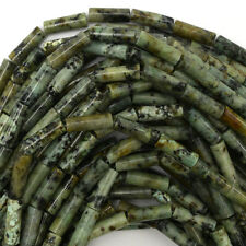 """13mm green african turquoise tube beads 16"""" strand"""