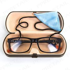 READING GLASSES/SUNGLASSES HARD BROWN CASE Cloth & Neck Spectacle Cord/Strap