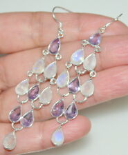 Purple Amethyst + Rainbow Moonstone Earring 925 Sterling SILVER Drop Earrings
