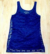 Handmade Navy Blue Lace Summer Sleeveles Narrow Strap Top Size 8 Atmosphere Base