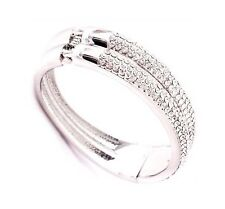 18ct White Gold & Swarovski Elements Twin Towers Oval Bangle Wedding New
