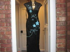 CHINESE ORIENTAL BLACK Turquoise STYLIST LONG PROM PARTY DRESS 18