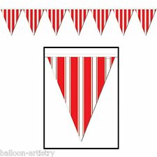 12ft RED and WHITE Stripes Style Party Pennant Banner Bunting Decoration