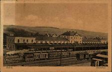 Bebra Hessen alte s/w AK 1922 Partie im Bahnhof Zug mit Dampflokomotive Waggons