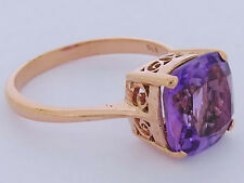 R224- Genuine 9K Solid  Rose Gold Natural Amethyst Cushion Solitaire Ring size N