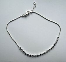 10 inch 25cm Sterling Silver snake chain Anklet with Faceted Beads 3.8g