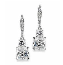 Ohrringe Ohrhänger Sterling Silber 925 Prinzess Cut klassisch edel Hochzeit