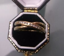 Women's 9ct Gold Vintage Diamond Twist Style Ring Size N-Half Weight 2g Stamped