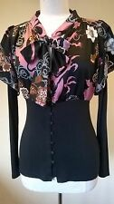 Next UK 12  Eur 40 black & pink floral hip blouse with bow tie detail