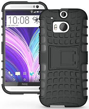 Black Heavy Duty Strong Tradesman TPU Hard Case Cover Stand for HTC One M8