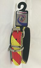Dangerous Dog Collar Small 50cm Leather, Red/Yellow Reflective
