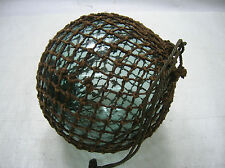 """Vintage Glass Fishing Float 12"""" in Natural Fibre NET Japanese Nautical"""