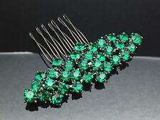 Emerald Green Formal Bridal Wedding Crystal Hair Large Comb Clip Pin 7.6cm Black