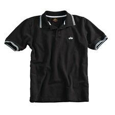 Alpha Industries Twin Stripe Polo  Größe XL Schwarz/Weiß Poloshirt Polohemd  =A=