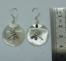 Handcrafted Mother of Pearl Dragonfly Dangle Earrings in 925 Sterling Silver
