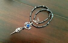 Tibetan Silver Raven Skull & Hematite Beads Necklace - Pagan/Wicca/Witch/Gothic