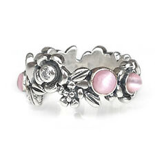 Size 6 925 Solid Sterling Silver Pink Moonstone Sparkling Flowers Ring Band