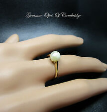 Vintage 9ct Gold Cultured 6.5mm Diameter Pearl Solitaire Ring Size K 1.58g