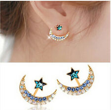 Women 18k Yellow Gold Filled Moon Star Shape Crystal Rhinestone Stud Earrings