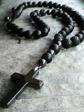 Halskette Kreuz Hämatit Onyx Lava perlen Edelstein Cross Necklace Rosenkranz man