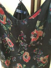 Ralph Lauren Black Flowered Silk Chiffon Camisole Two Sizes Uk 14 &16 Us 12 &14