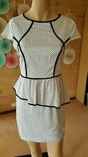 AS NEW SIZE 10 cooper st white dress, cap sleeves, peplum, work or occasion