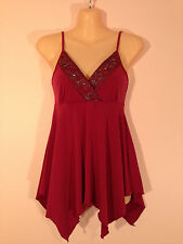 Rockmans Women's Size S Magenta Asymmetrical Top with Beautiful Beading