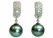 0.88ct Tahitian Pearls & Diamond Drop Earrings in 18K White Gold