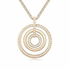 18K Gold GP SWAROVSKI Element Crystal Layered Ring Pendant Necklace White