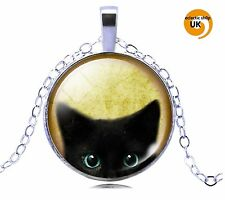 Cute Cat Cats Eyes Silver Tone Cabochon Domed Glass Necklace Pendant FREE POST !
