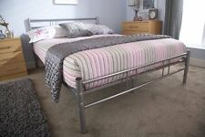 NEW MORGAN 4FT6 DOUBLE SILVER METAL BED HEADBOARD QUALITY CHEAP SLATTED BASE UK