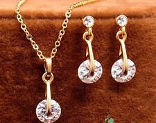 18K Yellow GOLD Plated Austrian Crystal Pendant Necklace Dangle Earring SET