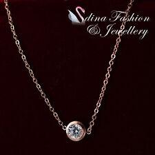 18K Rose Gold Plated Swarovski 0.7cm Single Diamond Delicate Necklace