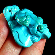 AAWOW Rarest 70CT 100% Natural SleepingBeauty Turquoise LIONESS Carving Pendant