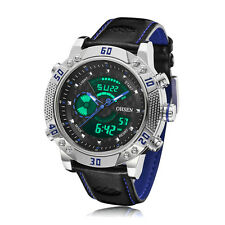 Mens XXL Case Military Army Digital Blue Leather Sport Quartz Watch WaterProof