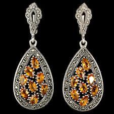 Sterling Silver 925 Large Genuine Marcasite & Natural Golden Citrine Earrings