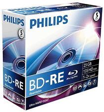 5 Philips Blu-Ray BD-RE wiederbeschreibbar 25GB 2x Rohlinge Jewelcase