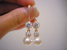 Amélie Swarovski Crystal Pearl Bridal Formal Rose gold Earrings Vintage Wedding