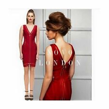 Novo London Zip Bandage Bodycon Stretch Dress‏ Deep Red UK Medium M 10 BY35